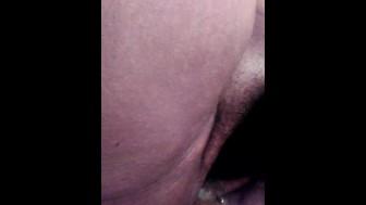 Creamy wet pussy cums on dildo