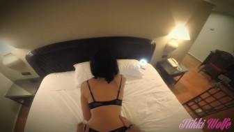 Beautiful sex with stunning babe in lingerie and high heels in hotel room!