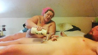 ssbbw gives husband handjob with big cumshot