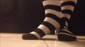 Black and White Striped Sock Presenting