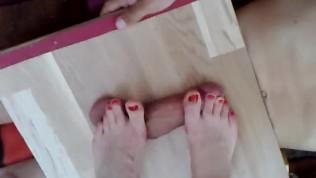 Nice feet on cockbox cock and balls trample massage – POV