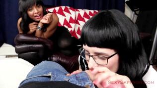 Naughty Schoolgirl Gives Virgin Friend Blowjob Demonstration