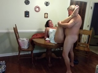 Attractive Mommy in a sundress scores pounded along with creampied on the dining table…