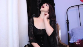 Bitchy Goth FemDom Makes You Suck Her Cock While You Stroke Your Dick
