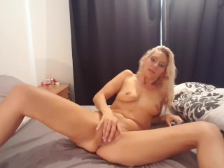 Slutty blonde hot mom squirting together with stuffs panties
