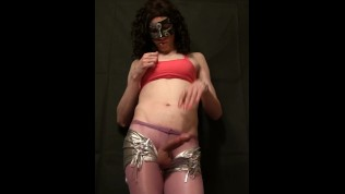 Sissy in silver shorts...