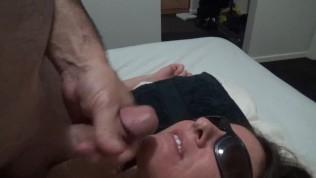 cum loving girl enjoys massive facial before swallowing tasty load
