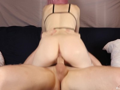 He Couldn't Hold Back and Cums Inside Tight Pussy! Amateur Cowgirl Creampie