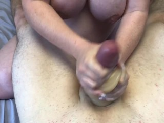 Pregnant Girlfriend Gives guy AMAZING orgasm with toy and mouth