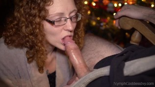 Redhead MILF Ivy swallows Hubby's cum as an early holiday gift