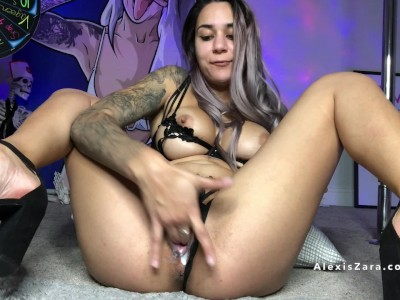 Alexis Zara Fingers Tight Creamy Pussy in Heels Until It Drips Down Her Ass