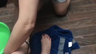 Femdome slave washes feet...