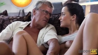 DADDY4K. Dad of nerdy guy can satisfy sex needs of his girlfriend