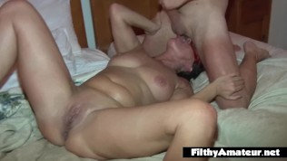 Exaggerated orgy with two...