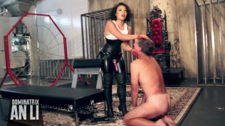Cruel Asian Mistress pegs and ballbusts slave