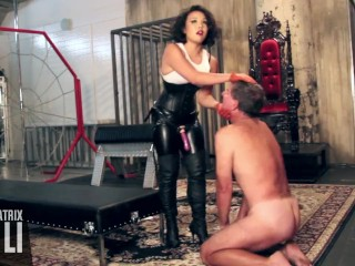 Cruel Asian Mistress pegs along with ballbusts slave