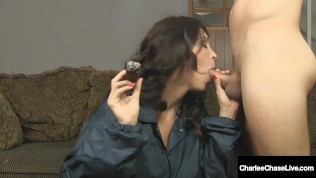 Cock Starved Cougar Charlee Chase Sucks On Tobacco Pole While Fucking!