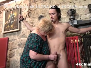 Busty Mature BBW Tortures Young Slave in the Basement