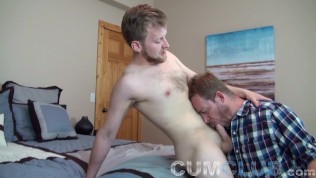 blond on blond swallowing huge cum load from real cute bearded otter hunter