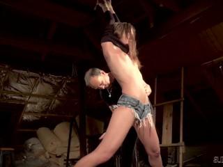 Teen in hot jeens endures bondage sex has multiple orgasms