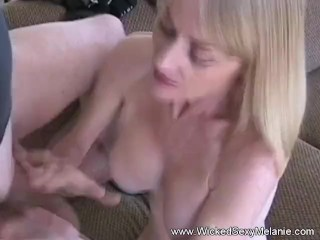hot blonde skinny granny specializes in sloppy blowjob