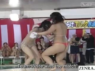 JAV enormous pool sumo sport with japanese stars in micro bikinis