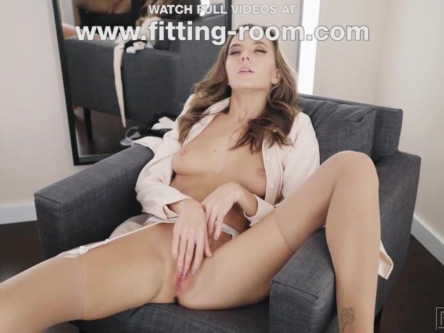 Stockings Fetishist Katya Clover Masturbates in a Fitting Room