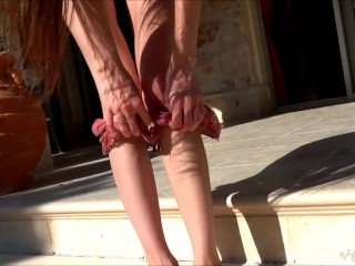 Lovely Leona Mia pulls aside her thong to show you her vagina