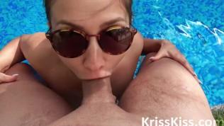 Girl Deep Sucking Big Cock Stranger in the Pool – Orgasm Closeup