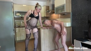 Angry BBW and Daughter Ballbusting Old Perv