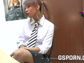 Piping hot job interview with young black whore babe