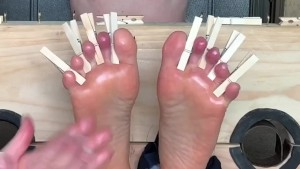 Tickle torture and bastinado soles and armpits
