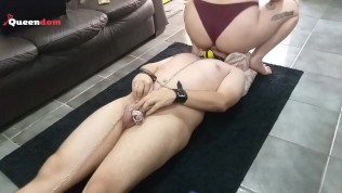 BBW Facesitting chained up slave in chastity cage