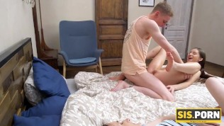 sisporn sexy girl falls asleep and young hubby fucks stepsis next to her