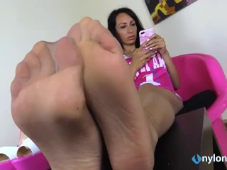 nylon feet in your own face while she ignores you