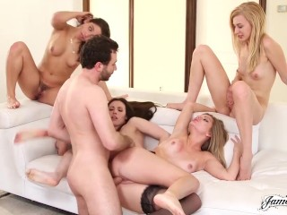 Lesbian Group Sex Pornstar Threesome Leads To Reverse Orgy & Colossal Cumshot