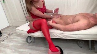 princess nicoole enjoy to suck the humiliator his dick while slave tommy must worship her feet
