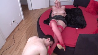 red stockings foot licking guy