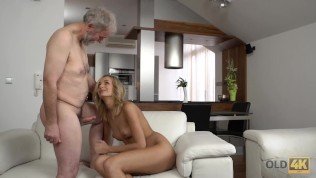 OLD4K Brilliant blonde gets satisfied with old husbands phallus