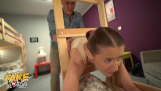 Fake Hostel Hot Teen With Great Boobs Gets Stuck In A Ladder And Needs Big Cum To Lube Her Free