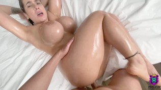 MILF gets an Oiled Anal Creampie as a result of a Rough fuck in the Ass