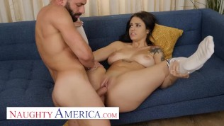 Naughty America - Melody Foxx takes a hard cock for a ride on the couch