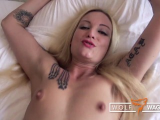 Casting banged & cum in oral for tiny whore Kitty Blair (PT 2)! WOLF WAGNER CASTING