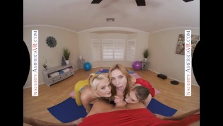 Naughty America - Hot yoga babes decide to tag team their instructor