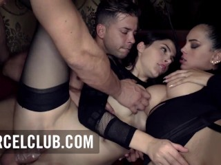 Crazy threesome with busty babes in the club Xtrem