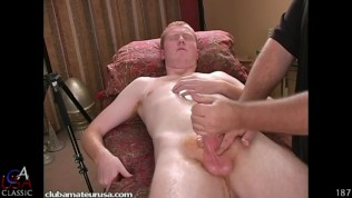 Watch Shamus, literally, gripping and holding onto the table as his physical pleasure becomes more and more intense