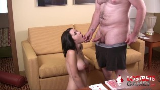 Sexy Brunette with Big Titties loses a bet watch what happens next