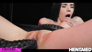 Real Life Hentai – Doll looking brunette has fun with big dildos, cum explosion