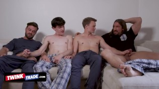 Naughty Teens Get Horny While Watching A Movie And Their Step Dads Decide To Show Them How It's Done