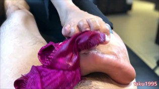 Japanese foot job with panty